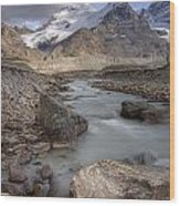 Mount Athabasca At Sunset Jasper Wood Print