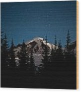 Mount Baker Starry Night Wood Print