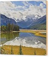 Mount Kitchener Reflected In Pond Wood Print by Yves Marcoux
