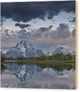 Mount Moran Under Black Cloud Wood Print