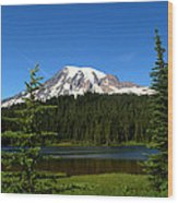 Mount Rainier And Reflection Lake Wood Print