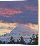 Mount Rainier Shrouded In Clouds Wood Print