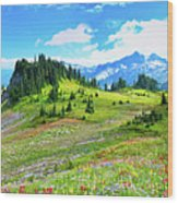 Mount Rainier Summer Colors Wood Print by Feng Wei Photography