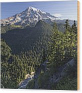 Mount Rainier Surrounded By Forest Wood Print