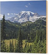 Mount Rainier With Coniferous Forest Wood Print
