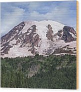 Mount Rainier With Coniferous Forest Wood Print