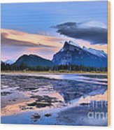 Mount Rundle In The Evening Wood Print
