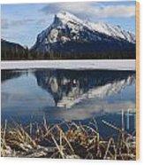 Mount Rundle In Winter Wood Print