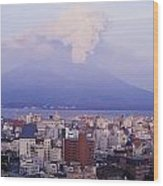 Mount Sakurajima Erupting In Front Of Wood Print