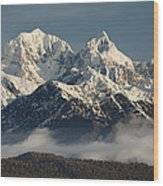 Mount Tasman And Mount Cook Southern Wood Print by Colin Monteath