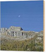 Mountain And Moon Wood Print