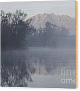 Mountain And Trees Reflected In The Water Wood Print