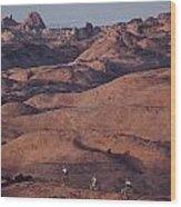 Mountain Bike Riders On Slickrock Trail Wood Print by Joel Sartore