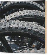 Mountain Bike Tires Wood Print