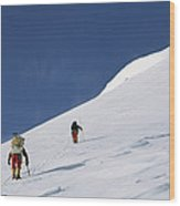 Mountain Climbers Use Safety Ropes Wood Print