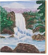Mountain Falls Wood Print by Jeanette Stewart