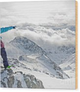 Mountain Guide Snowboard Instructor Pointing Out Peaks In Davos Wood Print