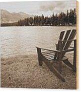 Mountain Lake View Wood Print