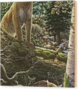 Mountain Lion With Fawn Wood Print by Anne Wertheim
