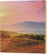 Mountain Morning Farm In Cades Cove Wood Print