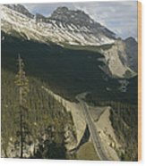 Mountain Peaks Along The Icefields Wood Print