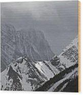 Mountain Peaks In Clouds, Spray Lakes Wood Print