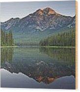 Mountain Reflection, Pyramid Mountain Wood Print