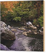 Mountain River With Rocks Wood Print