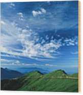 Mountain Road Wood Print by 1000