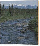 Mountain Stream With Cabin In Evergreen Wood Print