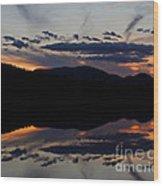 Mountain Sunset Reflection Wood Print