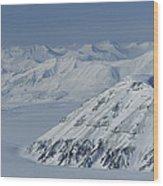 Mountains And Glaciers Near Ny Alesund Wood Print