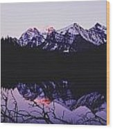 Mountains And Lake At Icefields Parkway Wood Print