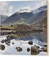 Mountains And Lake At Lake District Wood Print