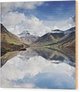 Mountains And Lake, Lake District Wood Print