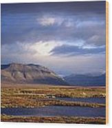 Mountains And Lakes, Dempster Highway Wood Print
