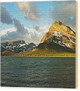 Mountains At Many Glacier Wood Print