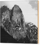 Mountains Of Yosemite . 7d6167 . Black And White Wood Print by Wingsdomain Art and Photography