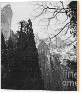 Mountains Of Yosemite . 7d6213 . Black And White Wood Print by Wingsdomain Art and Photography