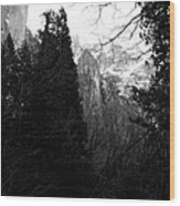 Mountains Of Yosemite . 7d6214 . Black And White Wood Print