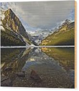 Mountains Reflected In Lake Louise Wood Print