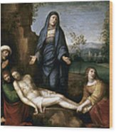Mourning Over Dead Christ Wood Print