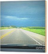 Moving Along Driver Seat View Wood Print