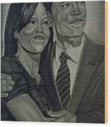 Mr. And Mrs. Obama Wood Print by Handy