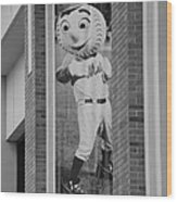 Mr Met In Black And White Wood Print by Rob Hans