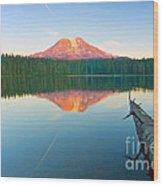 Mt. Adams Alpenglow Wood Print