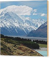 Mt Cook Across Lake Pukaki Wood Print