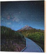 Mt. Ekmond At Night With Starlight Wood Print