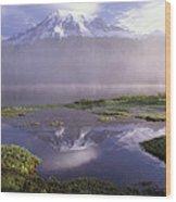 Mt Rainier An Active Volcano Encased Wood Print