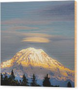 Mt Rainier Sunset With Lenticular Clouds Wood Print